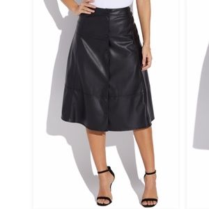 NWT JustFab Faux Leather Button Up Midi Skirt Sz S